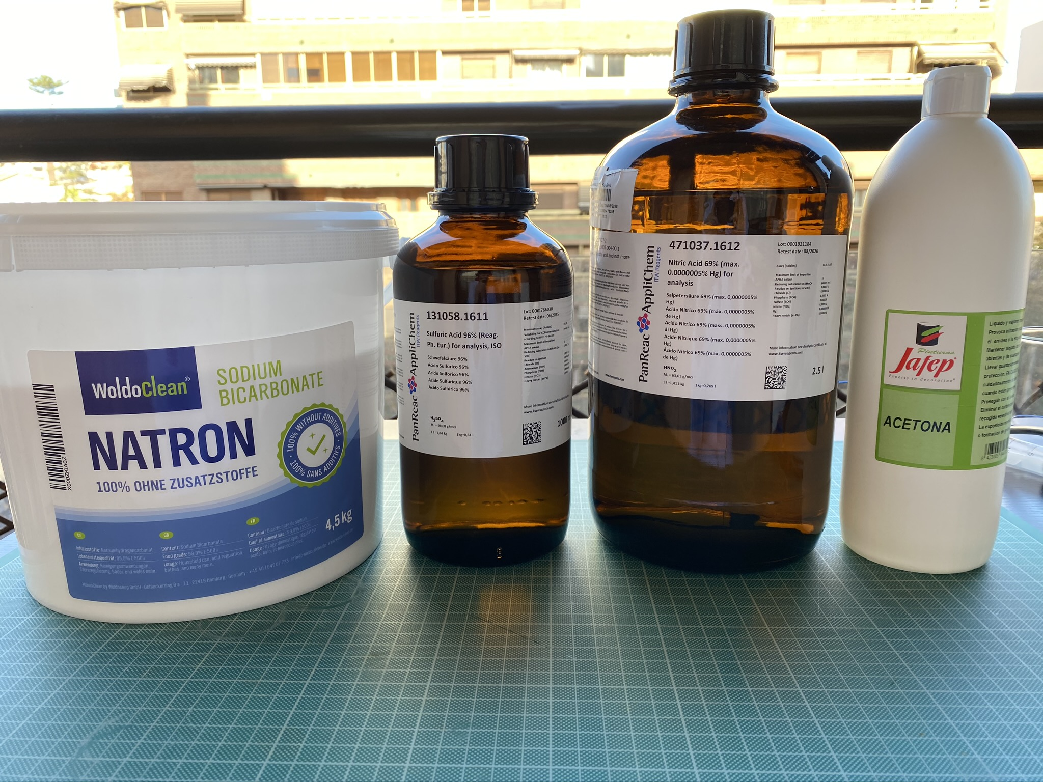 Both bottles of acid used during my experiments