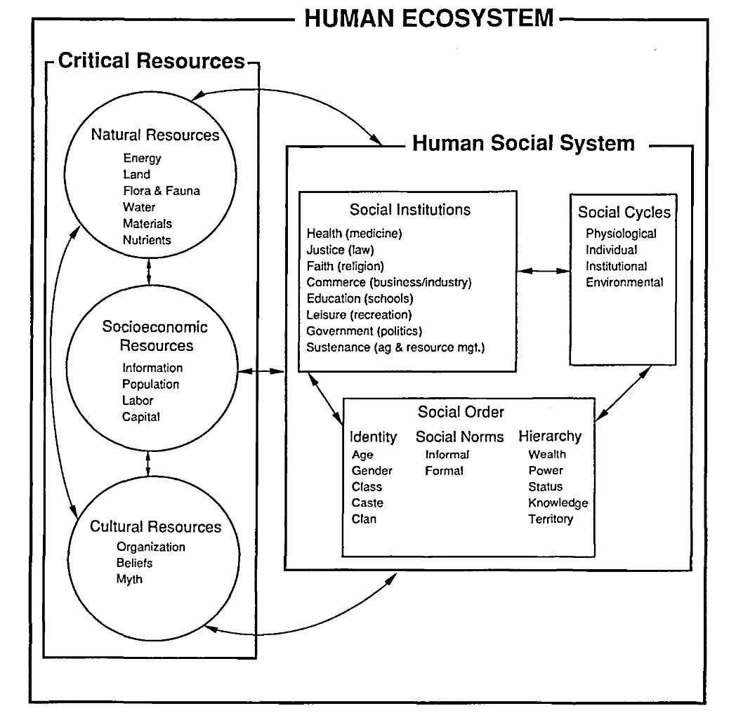 working model of the human ecosystem - G.E. Machalis et al.